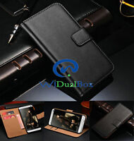 WiDualBox Card Holder Wallet Genuine leather Cover Case For Samsung Galaxy Phone