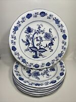 6 Blue Onion Southington by Baum Dinner plates made in Poland 11""