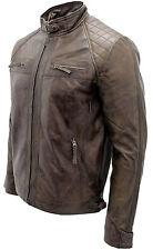 Hombre Vintage Negro,marrón,burdeos,negro y Marrón Cuero Acolchado Chaqueta