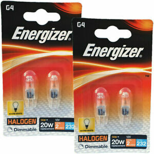 4 x Energizer G4 Eco 20W Halogen Capsule Bulb  232 Lumens 12V Lamp Warm White UK