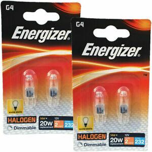 4 x Energizer G4 Eco 20W Halogen Capsule Bulb  232 Lumens 12V Lamp Warm White UK