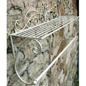Shabby Chic Wall Shelf Towel Rail French Vintage Bathroom Kitchen Storage Ivory