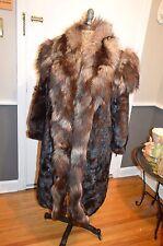 long brown mink & fox fur coat 38