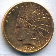10 Dolares U.S.A. oro 1932 @ Indio @ Muy Bella @