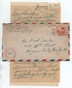 USA UC4 Watermark 39, with WWII Pacific letter dated Jan 8, 1945. 2021Scott=$22+