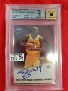 2002 Topps Chrome Refractor Shaquille O'Neal AUTO 215/850 BGS 9 MINT
