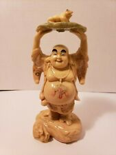 Rare Vintage Happy Laughing Buddha Wealth Frog Carved Epoxy Statuette