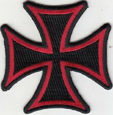 "Cross (Black/Red) Embroidered Patches 3""x3"" iron-on"