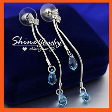 18K WHITE GOLD GF SOLID WOMENS Blue Aquamarine CRYSTALS WEDDING DROP EARRINGS