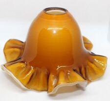 Christopher Wray Heavy Glass Ruffle Edge lamp light shade brown orange