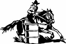 Large Barrel Racing Cowgirl Rodeo Horse Car Truck Window Vinyl Decal Sticker