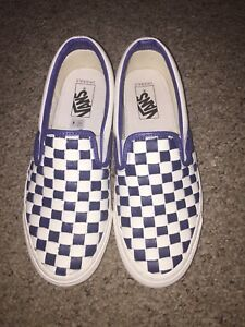 Vault By Vans Woven Leather Checkered Past Blue Mens Size 9 OG Classic Slip On