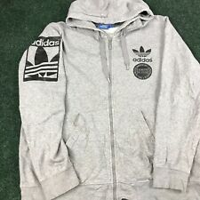 Vintage Adidas Sweater Adult Extra Large Gray Black Trefoil Spell-out Hoodie A6
