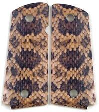 Custom Compact Officer 1911 Grips Ambidextrous Rattlesnake Rattler Snake Skin