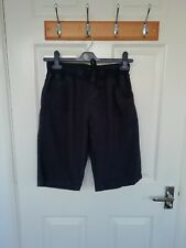 "Navy Blue Linen Blend Shorts Elasticated Waist 28"" (approx age 12 boy) 5 pockets"