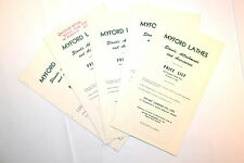5 PC Myford Lathe Stands Attachments 1963 & 1964 PRICE LSIT GROUP #RR504