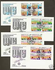 UN NY#444/Geneva 131-132/Vienna 49 UN University Set (4) Artmaster B4FDCs
