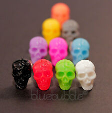 FUNKY PUNK ROCK SKULL BOYS MENS 7mm SINGLE EARRING SKELETON HEAD EMO COOL PIRATE