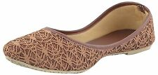 US 9 Indian Handmade Ethnic Mojari In Bronze Color For Women Khussa Flat