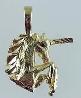 14k Solid Yellow Gold Diamond Cut Unicorn Charm Pendant