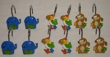 Elephant Monkey & Bird Shower Curtain Hooks Set of 12