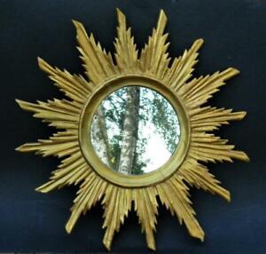 Large antique French gilt wood sunburst starbust mirror 19th C.