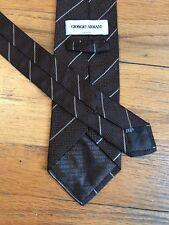 Giorgio Armani Tie Necktie 100% Silk Brown White Striped Necktie Italy PERFECT