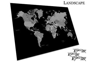 Black & White Map of the world countries - Map Art Print Poster Print - X2354