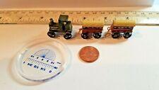 Vintage Wooden Pull Train Toy Locomotive 2 Passenger Cars Dollhouse Miniatures