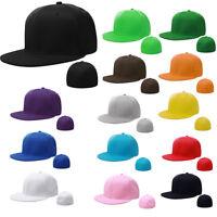 7 3/8 Size Plain Fitted Cap Baseball Hat Solid Flat Plain Bill Visor Unisex Gift