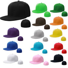 7 3/8 Size Plain Fitted Cap Baseball Hat Solid Flat Plain Bill Visor Unisex Gift