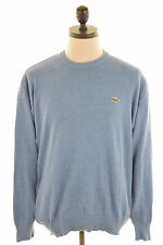 LACOSTE Mens Crew Neck Jumper Sweater Large Blue Cotton