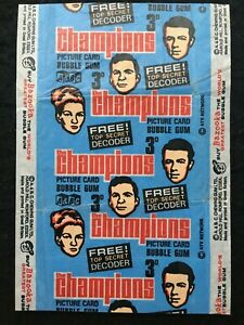 1969 A&BC The Champions TV Series 3D Picture Card Bubble Gum Wax Wrapper - Good