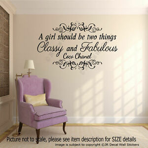 """""""Classy and Fabulous"""" Coco Chanel Inspirational quote wall Stickers, wall art"""