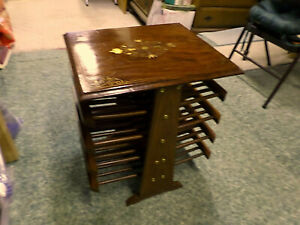 3277M Vtg 4 Tiered Magazine Rack End Table Inlaid Brass Table Top Mahogany Wood