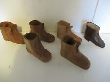 Lot Vintage Hand Carved Wood Shoes / Boots