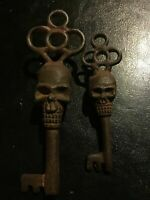 Skull Victorian Cast Iron Key Skeleton Castle x2 Rustic Patina Collector SET LOT