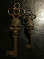 Skull Victorian Cast Iron Key Skeleton Castle x2 Rusty Patina Collector SET LOT!