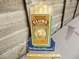 Carreras Die-Cut Cigarette Pack / Tobacco Advertising Card Sign c1930s