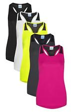 Womans Ladies Racer Back Smooth Wicking Polyester Workout Vest Sleeveless TShirt