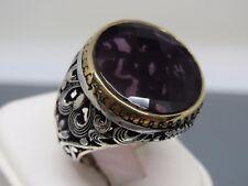 Turkish Handmade Jewelry 925 Sterling Silver Amethyst Stone Men's Ring Sz 9