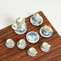 15pcs Dollhouse Miniature Dish Cup Plate Dining Ware Porcelain China Tea Set New
