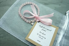 UK Rose Quartz Angel Friend Bracelet Healing REIKI Pink Wedding Special person