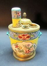 Unique 19th C. French GILT BRONZE MOUNTED Porcelain Desk Set  c. 1870s  antique