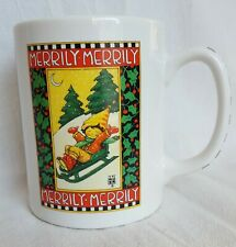 Mary Engelbreit Merrily Merrily Coffee Mug Holiday Sled Snow Holly