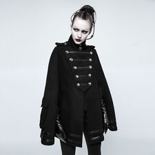 Punk Rave Black Casual Cape,Gothic Military Style party Uniform Cloak JACKET F