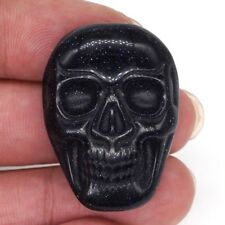 1.37 Inch (35mm) Carved Blue Goldstone Sand Stone Skull Cab Cabochon