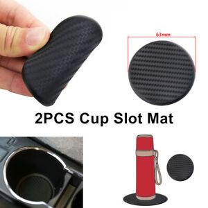 2PCS Carbon Fiber Look Car Dashboard Water Cup Slot Non-Slip Mat Coaster Black