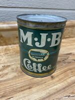 Antique Vintage, M J B, MJB 1LB. Coffee Tin Can ORIGINAL Green