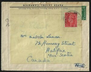 UK GB 1944 WAR TIME PAPER SAVING CAMPAIGN REUSED LETTER TO CANADA